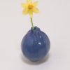 Immagine di zucchina di ceramica di colore blu su sfondo bianco.