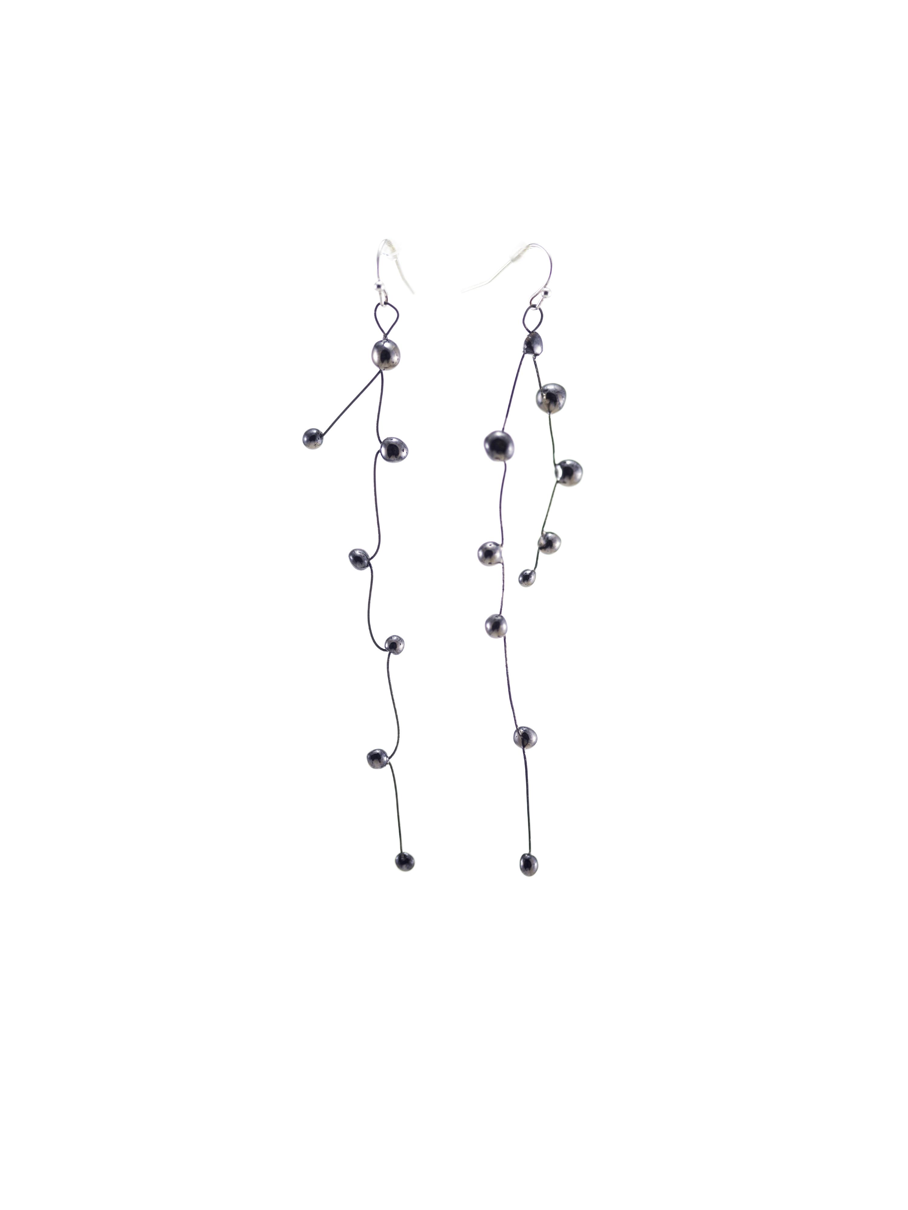 Immagine di orecchini pendenti in ceramica e metallo, colore nero su sfondo bianco.