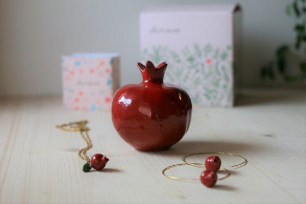 Gioielli e ceramiche a forma di melagrana cofanetto regalo Mediterraneo